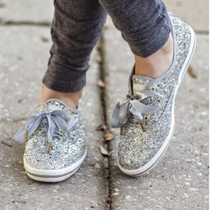 Keds for Kate Spade Silver Glitter sneakers size 7